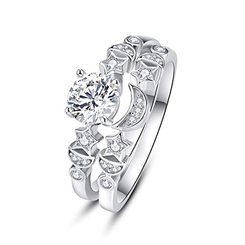 AVECON Promise Rings for Her Women 925 Sterling Silver Jewelry with Sun  Moon Star Shape Round Cut Cubic Zirconia CZ Size O