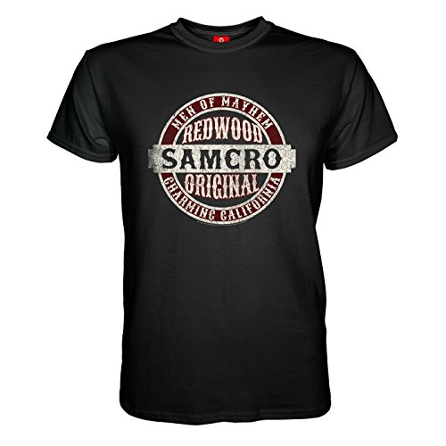 en T-Shirt - Sons of Anarchy Samcro Original Totenkopf Deadskull SOA Teller Morrow Jax Opie MC Motorrad Club Redwood California Tig Chibs Hells Angels Tara Knowles Schwarz S ()
