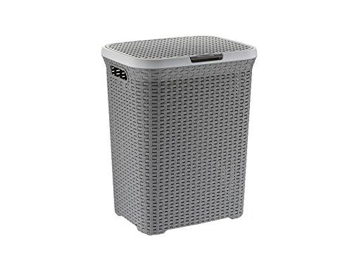 Wäschebox mit Deckel Wäschekorb Kela Rio grau 23376 Wäschetonne Flecht-Look