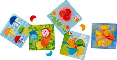 HABA 303710 - Zuordnungsspiel Farbenmonde | Farbenspiel mit 5 Motivkarten und 15 Holzbausteinen in unterschiedlichen Farben | Spielzeug aus Holz und Pappe ab 18 Monaten