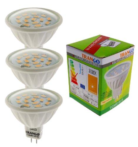 Trango 3er Set 6 Watt LED Leuchtmittel mit MR16 Fassung 3TGMR1615 zum Austausch Halogen Leuchtmittel MR16 I GU5.3 I G4 12 Volt 3000K warmweiß Glühlampe, Reflektor Lampe, LED Birnen -