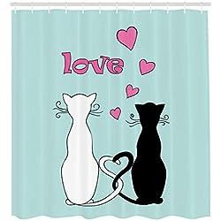 ABAKUHAUS Amante De Los Gatos Cortina de Baño, Colas Enredadas En El Amor, Material de Colores Vibrantes Estampas Personalizadas Antimoho, 175 x 200 cm