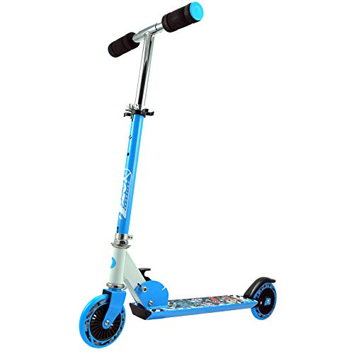 Best Sporting Scooter 125er Rolle, Basic Tretroller für Kinder, klappbar, ABEC-5 Kugellager, Farbe blau/weiß