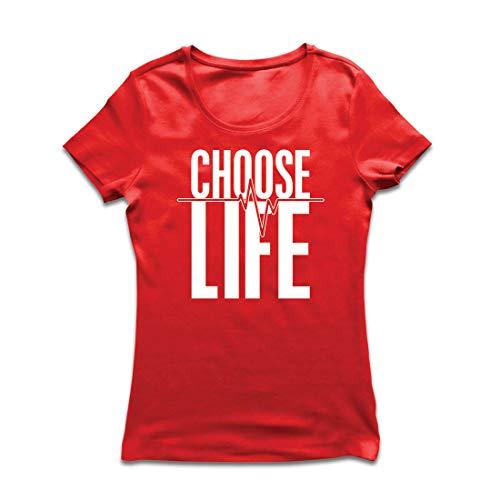 lepni.me Frauen T-Shirt Wählen Sie das Leben Herzschlag, Anti-Abtreibung politischen Protest, Christian Zitat (Small Rot Mehrfarben)
