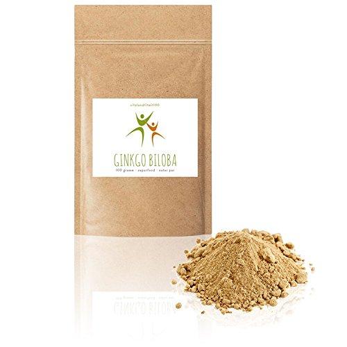 Ginkgo Biloba Pulver - 100 g - Rohkost-Qualität - 100% VEGAN, PUR - Glutenfrei - Laktosefrei - OHNE Hilfs- u. Zusatzstoffe