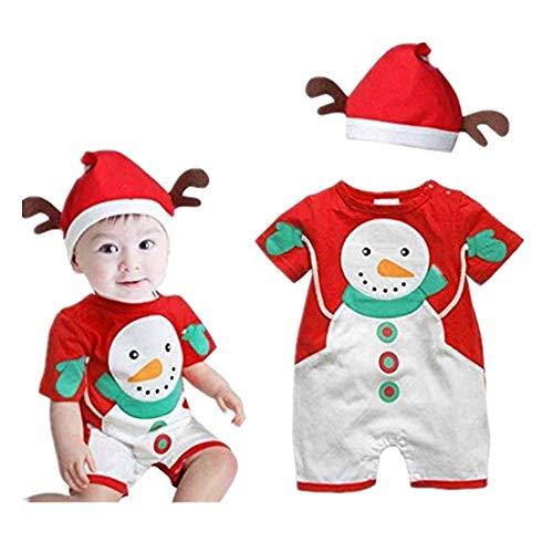 Dasongff Baby Kinder Deer Weihnachten Jungen Mädchen Kleidung Jumpsuit + Hut Set Outfits