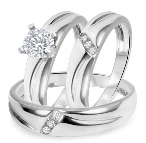 Vorra Fashion 5/8TDW rotondo CZ Trio Anello di fidanzamento set 14K oro bianco FN.Argento 925, argento, 24,5, colore: bianco, cod. 12345 - Womens Anello Trio