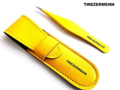 TWEZERMENN Pointed Tweezers Stainless Steel Precision Tweezers for Ingrown Hair, Eyebrow Hair, Facial Hairs - Great for Splinters and Glass Removal - Steel Pointy Ends Meet Perfectly - Perfect Stocking Stuffer Under £10 - YELLOW