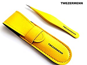 Stainless Steel Precision Tweezers for Ingrown Hair, Eyebrow Hair, Facial Hairs - Great for Splinters and Glass Removal - Steel Pointy Ends Meet Perfectly- YELLOW SET