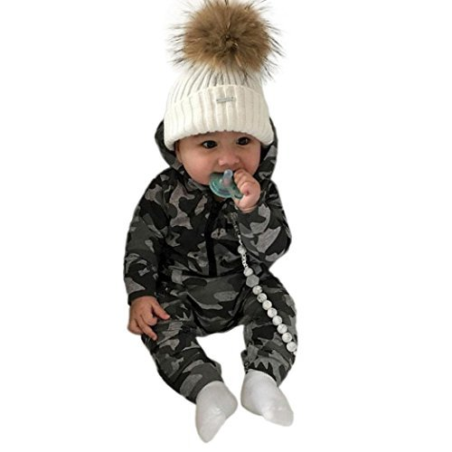 Prevently Babyoverall Baby Camouflage Kapuzen Longsleeve Jumpsuit Infant Baby Jungen Mädchen Camouflage Print Hooded Strampler Overall Kleidung Outfits (Im Bild, 3-6 monate/80) -