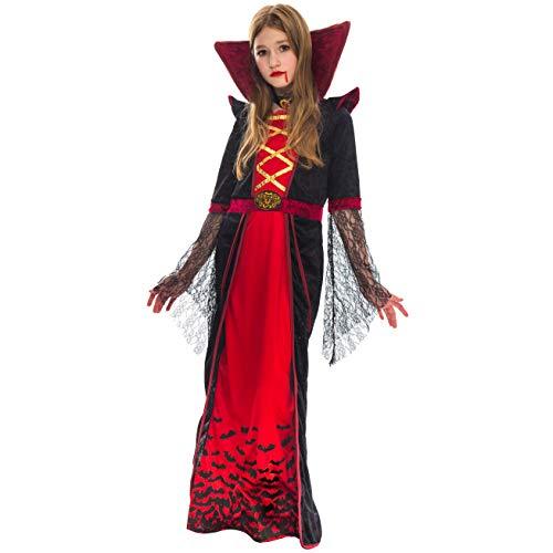Vampir Kinder Kostüm Queen - Spooktacular Creations Royal Vampir Kostüm für Mädchen Deluxe Set Halloween gotisch Viktorianische Vampirin Queen Dress Up Party (Large)