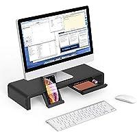EURPMASK Computer Monitor Stand Desktop Riser Adjustable Foldable Width Storage Drawer Tablet Phone Stand 50KG Load Capacity For Monitor/Laptop/TV Printer/Fax Machine/Computer/iMac Notebook-Black