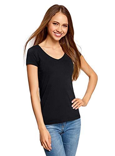 oodji Collection Damen T-Shirt Basic mit V-Ausschnitt, Schwarz, DE 38 / EU 40 / M