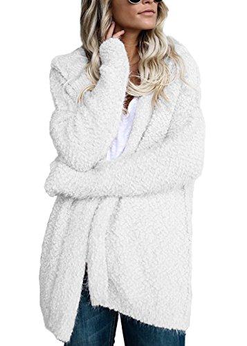 Femme Mode Sweats à Capuche Chandails Décontracté Manches Longues Tricoté Cardigan Outwear Tops Blousons Ouvert Couleur Unie Manteau Sweat-shirts Blanc