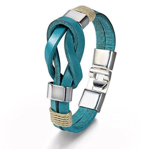 Flongo Bracelet Alliage Cuir Corde Symbole Infini Infinity Tribal Couleur optionnel Fantaisie Bijoux Cadeau pour Femme Homme Ensemble