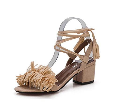 Neue Sandalen Schuhe mit Quasten in den rauen mit dem Fischkopf Kreuzbügel-Absatzschuhe Beige