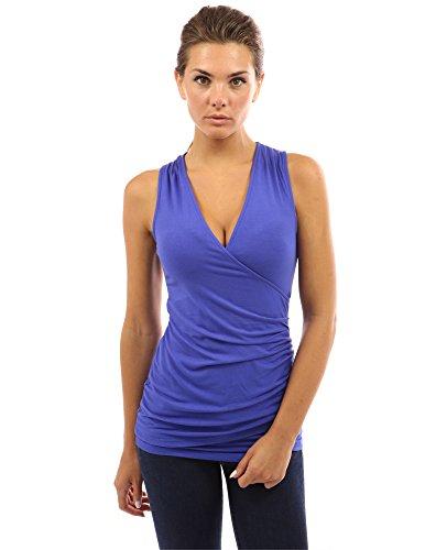 PattyBoutik ärmelloses Damen Bluse mit Rüschen und V-Ausschnitt (helle blaue 36/S) - Blaue Rüschen Shirt