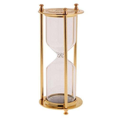 MagiDeal Reloj de Arena Sandglass Retro Metal Adornos Decorativos de Hogar - Oro, Tamaño (DxH): 7 x 16 cm