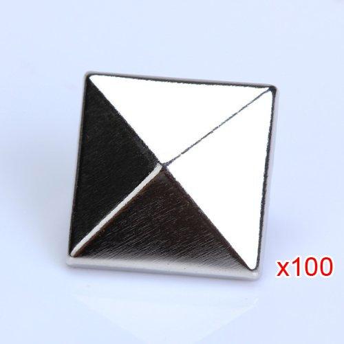 100x 12mm Metall DIY Pyramiden Nieten Ziernieten Gothic