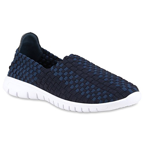 Damen Slip-ons Glitzer Sneakers Helle Sohle Slipper Metallic Dunkelblau Blau