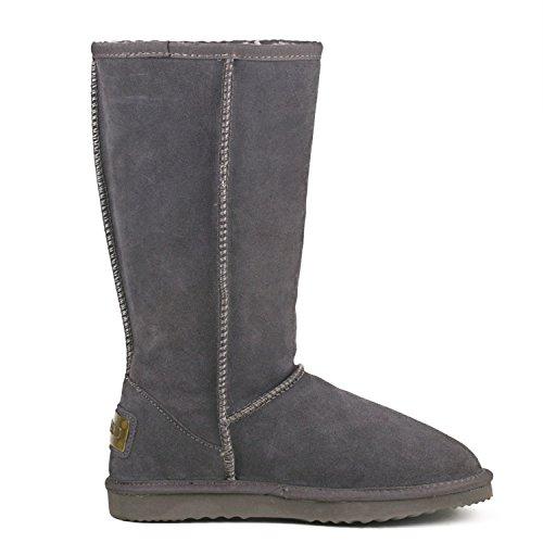 Shenduo Bottes hiver femme cuir(daim), Boots Classiques Hautes doublure chaude DA5815 Gris