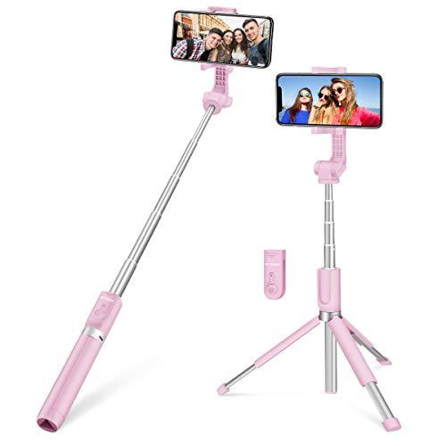 Bluetooth Selfie Stick, BlitzWolf 90cm Erweiterbarer Selfie Stang Stab mit Bluetooth-Fernauslöse und Stativ für Android Samsung Galaxy 3.5-6 Zoll Smartphones(Erweiterte Version-Rosa)