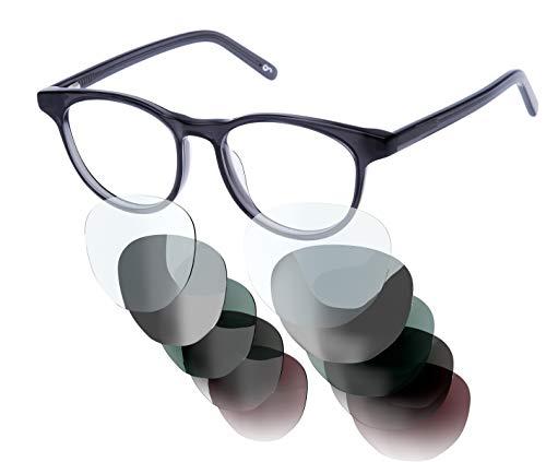 Sym Brille mit wählbarer Sehstärke von -4.00 (kurzsichtig) bis +4.00 (weitsichtig) und auswechselbare Gläser in 6 Farben, für Damen & Herren (Unisex), Modell 03 in Crystal Dark Grey