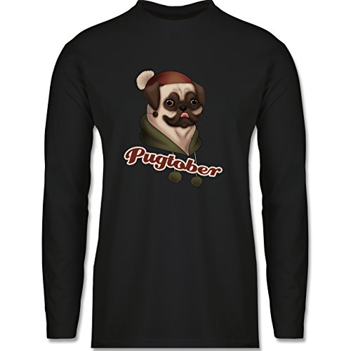 Hunde - Pugtober Mops - Longsleeve / langärmeliges T-Shirt für Herren Schwarz