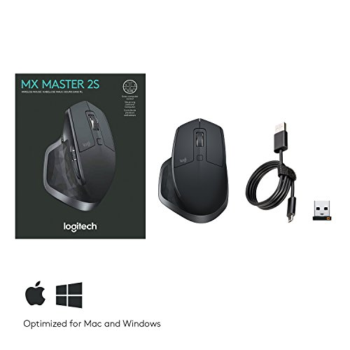 Logitech Mx Master 2s, Wireless Bluetooth, Usb Receiver Mouse For Mac & Windows, Rechargeable Battery, Multi-device, Programmable Buttons For Productivity, Graphite