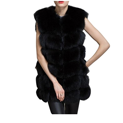 Koly _Chaqueta de las mujeres adelgazan el chaleco de imitación de piel de zorro chaleco (M, Nero)