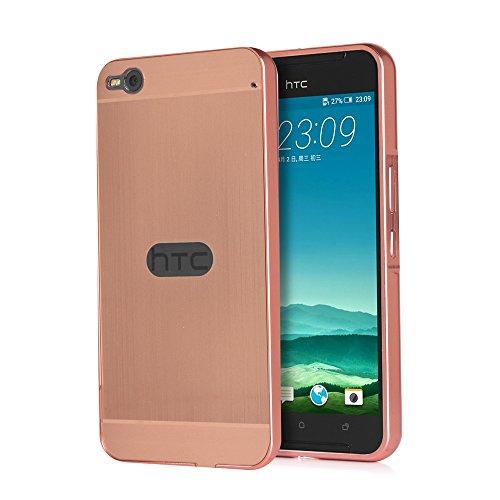 Telefon Kasten für HTC One X9 Hülle Aluminium Metall Case Cover+PC Gebürstet Back- Pink