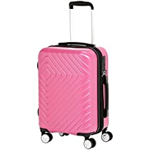 AmazonBasics Geometric Travel Luggage Expandable Suitcase Trolley with Wheels and Built-In TSA Lock, 28 Inch - Pink