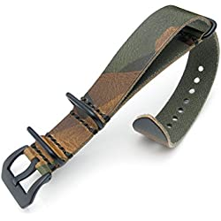 22mm Woodland Camouflage Leather ZULU Watch Strap, PVD Black Buckle, MiLTAT Grezzo SQ