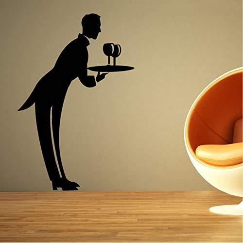 Server Restaurant Wandaufkleber Für Hintergrund Kunst Dekoration Für Restaurant Vinyl Tapete Aufkleber Speisesaal Wandbilder 57 * 86 Cm -