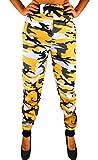 RMK Damen Jogginghose mit Bündchen Trainingshose Uni Schlafanzug-Hose Gym H.03 (Camouflage Gelb, M)