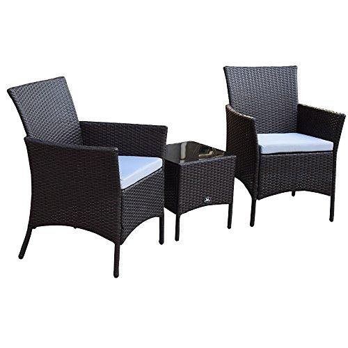 Sj 3 Teiliges Polyrattan Gartenmöbelset Tisch Stuhl Balkonmöbel-Set SJ-03 Braun