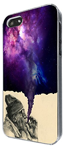 003032 - Old Hobo Smoking Weed Tornado Galaxy Design iphone 5 5S / iphone SE 2016 Hülle Fashion Trend Case Back Cover Metall und Kunststoff -Clear (Floral-design-hobo)