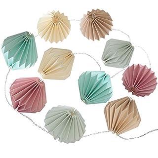 AC-Déco 10 LED-Lichterkette aus Origami, L 33 x B 13 x H 6 cm, Pastellfarben
