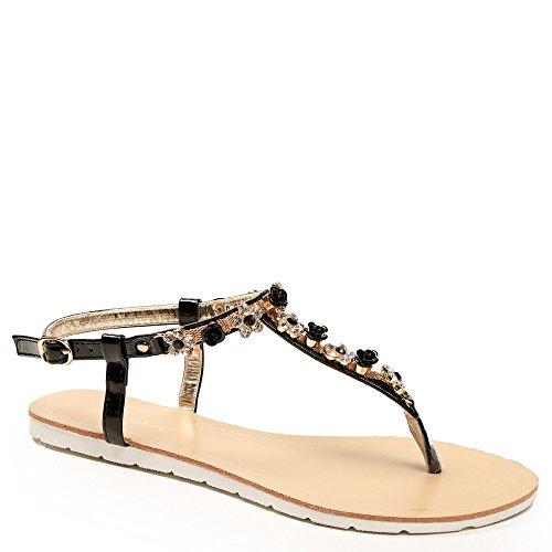 Ideal-Shoes Sandali piatti impreziositi da fiori strassées Greta Nero (nero)