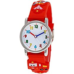 Pure Time Kids Watch for Boys and Girls Children's Silicone Watch With 3D Fire Brigade, Red