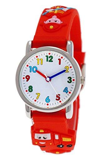 Pure Time® Kinder-Uhr Mädchen-Uhr für Kinder Jungen-Uhr Silikon-Kautschuk Armband-Uhr Uhr mit 3d Feuerwehr Motiv Rot