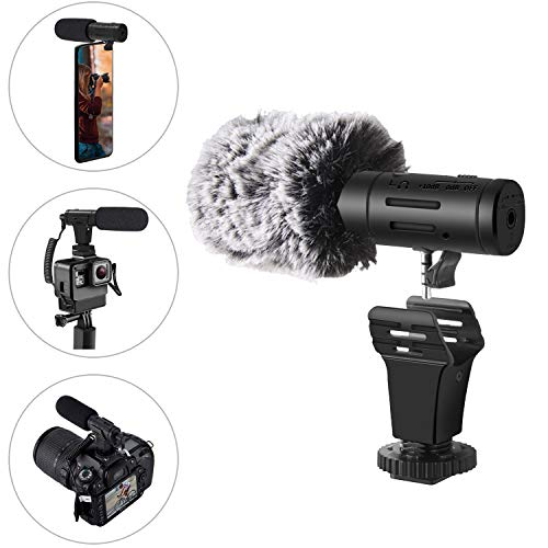 Lithium Batterie Mikrofon für Kamera/SLR/Handy Camcorder/Smartphone/PC/iPhone/Android, USB-Lade Super-Kardioid Kondensor Richtmikrofon für Videoaufzeichnung DSLR YouTube Podcast Interview Vlog