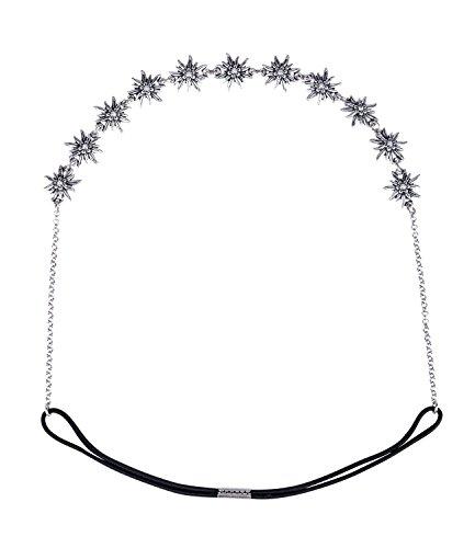 SIX Oktoberfest Damen Haarband, Haarschmuck, Trachtenschmuck, Edelweiß, Blumen, Metall, Strasssteine, silber (456-600)