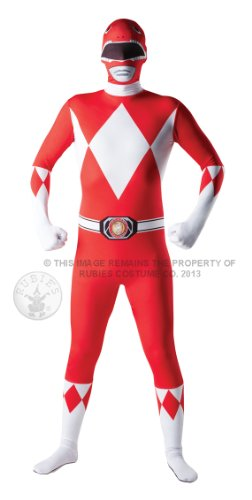 Mighty Morphin Power Rangers - Roter Ranger Kostüm - '2nd Skin' Ganzkörper Stretch-Overall - Gr. M