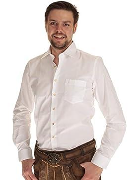 Almsach Herren langarm, Trachtenhemd weiß Herren Hemd Tracht weiß