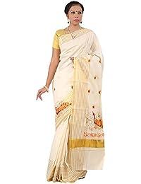Selvamani Tex Cotton Kerala Kasavu Zari Saree With Blouse