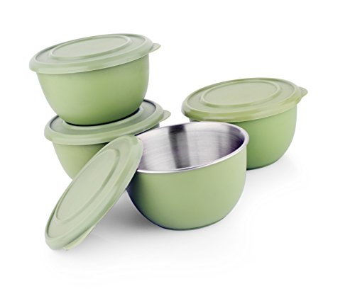 LIEFDE Microwave Safe Stainless Steel Plastic Coated Serving Bowl(Set of 4)-13 cm Each Bowl