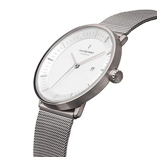 Nordgreen Philosopher Designer Unisex Uhr Silber Analog Quarzwerk 40mm (L) mit Mesh...