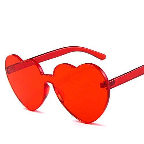Shihuam Party Eyewear Googles Frauen Rahmen Candy Tint Farbe Katze Sonnenbrille Mode Liebe Herzform Randlose Sonnenbrille,rot
