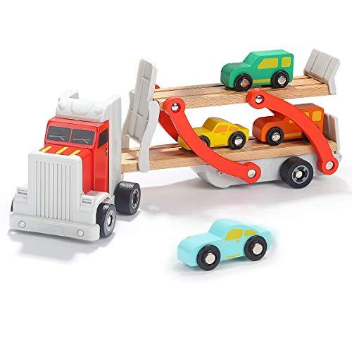 portwagen LKW aus Holz mit beweglicher Laderampe, Kinderspielzeug mit abnehmbarem Anhänger und 4 bunten Autos, Geschenk zum Geburtstag oder Weihnachten , ab 2 Jahre ()